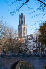 Utrecht. View over Gaardbrug to the Dom Toren. (natures-pencil) Tags: utrecht gaardbrug oudegracht domtoren cathedral cathedraltower church townscape architecture building lovelycity bluesky bridge