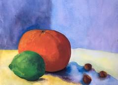 Orange Lime Filbert (Handwork Naturals) Tags: dailypainting nut fruit stilllife watercolor lime orange filbert edenscovillehart
