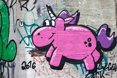 57/365 (_anke_) Tags: 365challenge 365days 365 365in2017 365project 3652017 photoaday dailyphoto documentation photojournal digital canon50mm14 50mm14 primelens bochum graffiti streetart unicorn pink purple wall bridge