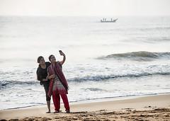 Selfie (Sathish_Photography) Tags: girls colours seashore marinabeach selfie boat waves beach sand water seawater selfiphoto mobile smile humanface chennai madras ilovechennai sathishphotography sathishkumarphotography candidshot india