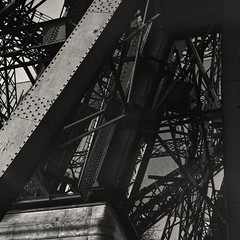 Eiffel Tower (Hasselblad 503, Kodak Tri-X 400) (alejandro lifschitz) Tags: lifschitz black white blanco negro monocromo monochrome hasselblad 503 kodak trix 400 hc110 photoshop lightroom dark shadows sombras city ciudad outdoor tree plant paris france francia sena buildings edificios urban landscape sky cloud tower machinery mechanism lifts architecture building structure infrastructure beam eiffel gate