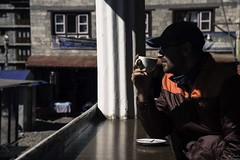 Coffee in Namche Bazaar (owenweberlive) Tags: nepal everest basecamp tengboche dingboche himalayas himalaya mountains hiking hikers landscape landscapes earth nature mount mt asia asian travel vacation trek trekking nacho bazar bazaar climb climbing nepalese gorakshep