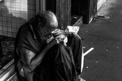 Sydney Homeless (Trent Crawford) Tags: sydney australia homeless poor poverty sad old man unfortunate blackandwhite monocrome
