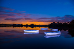 Loch Rusky (Alec-Gibson) Tags: trees sunset lightpainting reflection water boats scotland lochrusky