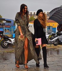 Sara at Gucci in the rainstorm (Paulix Black) Tags: street city sexy wet girl rain fashion 1 nicole donna cool model glamour sara day legs boots sandals milano stage over moda style class rainstorm glam chic knee fashionista raincoat settembre settimana overknee stylish classy fashionable rossetto giorno fashionist mfw streetstyle