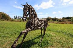 Art in the Orchard (TheLittleMiss) Tags: autumn sculpture horse art statue massachusetts twigs easthampton 2015 artintheorchard parkhillorchard