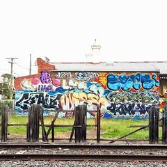 HFF - Sparse palings (retrokatz) Tags: fence graffiti railwayline sprayart