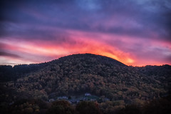 Fire Over The Mountain (Michael Kline) Tags: trees sunset sky mountains virginia october roanoke 2015