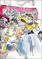 Rebel Cowboy (Kerry Niemann) Tags: cowboy apachejunction inkandwatercolordrawing