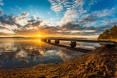 Towards the sun [Explore] (LivingStone Images) Tags: reflection water clouds sunrise fisheye 8mm hdr lakemacquarie 2015 samyang marmongpoint