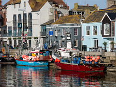 Rendezvous Reflections (dorsetbays) Tags: blue red england reflection sunshine boat harbour dorset fishingboat weymouth weymouthharbour oldharbour