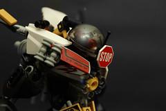 W. Burnside/22nd patrol, KELO Industries (Arkov.) Tags: robot lego armor emp bionicle cyberpunk trafficcontrol drone jinzo hardsuit railgun tablescrap riotflea