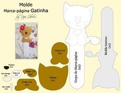 Molde do marca página de gatinha (Feito a mão [by Rafa]) Tags: felt feltro fofo molde gatinhos fieltro marcapágina feltrosantafé rafagibrim apaixonadosporfeltro