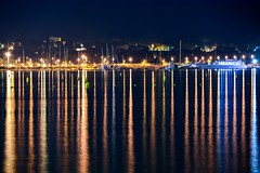 Night Pillars (Jelena. T) Tags: light sea france night boats coast yacht outdoor breeze pillars antibes