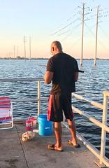 Handsome Black fisherman (LarryJay99 ) Tags: male man dude railings nape photostream dudes peekingpits guys baldhead guy pier shorts men musculararms flipflops legs glasses shoulders water river sky flowingwater iphone7plusbackdualcamera399mmf18
