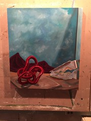 Desert with Objects (MELLOWE06) Tags: desert stilllife red object rock sky mountains cloth painting oilpainting art