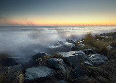 Rogue (Steven Docwra) Tags: landscape seascape dawn sunrise stevedocwra wwwstevedocwracouk wwwstevedocwracom wave sea sky noclouds breakingwave colour color eastanglia norfolk seadefense marramgrass cold eastcoast
