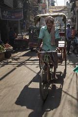 Delhi, India (Ann Kruetzkamp) Tags: india rajasthan intrepid travel tours cycling bicycling new delhi mosque hindu photojournalism photo photography people men women sari scarf textiles fabric color chai alley cart vegetable market fruit stand store stall dawali 2016 cycle cyclerickshaw turban bike rickshaw chandni chowk chandnichowk man