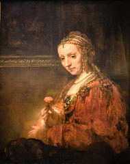 Rembrandt van Rijn - Woman with a Pink, 1660's at Metropolitan Museum of Art New York City NY (mbell1975) Tags: newyork unitedstates us rembrandt van rijn woman with pink 1660s metropolitan museum art new york city ny nyc manhattan museo musée musee muzeum museu musum müze finearts fine arts gallery gallerie beauxarts beaux galleria painting met dutch flemish goldenage golden age masters