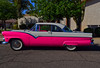 Pepto Bismol (oybay©) Tags: pink pinkcar peptobismol fordvictoria victoria ford fordmotorcompany sandiego car automobile color colorized whitewalltires whitewall tires angle suicidedoors mercury merc hotrod hot rod flames flamin coolcar classiccar sunset love petermax sideview dramatic colors colorful midnight oasis arizona glendalearizona shining bright craquelure vehicle lines