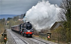 76084/45690. 'The Buxton Spa Express'. (Alan Burkwood) Tags: hathersage buxtonspaexpress br standardclass4mt 76084 lms stanier 6p jubilee 45690 leander steam locomotive