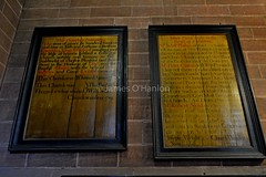 Information boards (James O'Hanlon) Tags: chester cheshire john baptist johnthebaptist church cathedral ruins norman medieval effigy stained glass chapel saint st