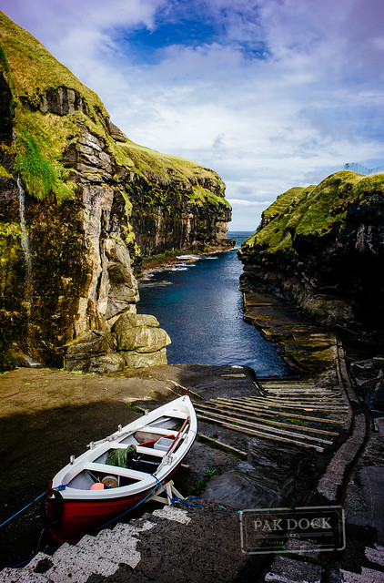 The natural harbour of Gjógv - Faroe Islands