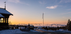 Cloud City Cabin (abdurj) Tags: mountain mountains cabin sky clouds sunset travel trees snow green forest fog foggy cloud flag flagpole oslo norway outdoors dawn evening landscape dusk daylight sun nature weather winter