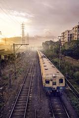 Watching trains (georgerani532) Tags: mumbai sunrise
