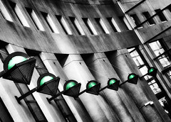 Green Globes (beelzebub2011) Tags: canada vancouver downtown britishcolumbia library selectivecolor