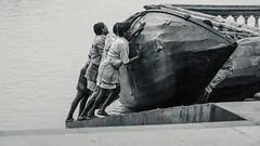 Dam Lagake Haisa (Chiradeep.) Tags: people blackandwhite india monochrome boat streetphotography hardwork kolkata calcutta westbengal hardlabour boatrepair riverganges