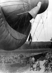 French Kite Balloon with ground party. (Australian War Memorial collection) Tags: blackandwhite balloons landscape photography worldwar1