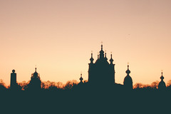 Smolny convent (Arina Borevich) Tags: travel pink color building church silhouette horizontal digital landscape temple evening cathedral russia religion fujifilm christianity saintpetersburg russian orthodox fujifilmfinepixf11 vsco