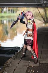 Lightning (azproduction) Tags: sword knight cape lightning finalfantasy pinkhair redcape finalfantasyxiii