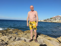 IMG_3405 (griffpops_deptford) Tags: sea beach swimming malta shirtlessmen hairymen smoothmen menatthebeach menwithbeards stpaulsbaymalta menintrunks