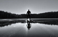 (Svein Skjåk Nordrum) Tags: winter light shadow blackandwhite bw sun lake cold reflection ice nature water silhouette landscape mirror frozen noir skating surface nero nordmarka marka tourskating nordicskating fagervann