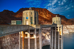 Hoover Dam Intake Towers (Stefan Schafer) Tags: flickrelite d750 nikon lasvegas places hooverdam nevada electricity water architecture sky concrete clock energy mountain rock red landscape technology nature