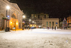 Folks skating at Springer Market Square - Kingston (NicoleW0000) Tags: kingston ontario christmas decorations tree ice rink outside outdoor outdoors winter skating people lights shutter speed motion blur night photography city hall springermarket square festive architecture