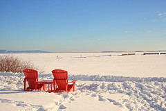 Red Chairs Across Canada (Cindy's Here) Tags: redchairsacrosscanada redchairs red chairs princearthurslanding thunderbay ontario canada canon winter snow ice bluesky boldcolor 3 117