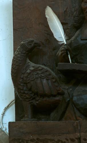 Morville, Shropshire, St. Gregory's church, evangelist:  John, detail