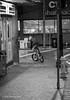 Taking a Ride (briankloock) Tags: pittsburgh streetphotography bycycle monochrome bw
