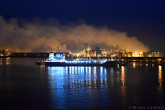 Immingham Port at Dawn (Bri_J) Tags: nikon d7200 humberestuary eastyorkshire uk yorkshire imminghamport dawn immingham port ship see ferry smoke reflection lights