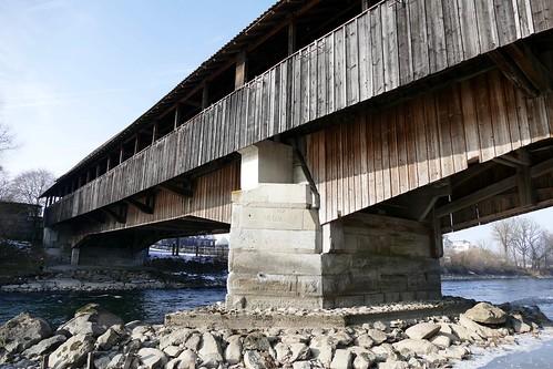 Alte Reussbrücke Sins old wood bridge 1808 Switzerland