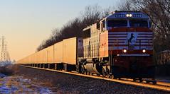 NS #256 - Movin' on up... (HighHor$epower) Tags: ns911 ns256 harristown sd60e roadrailer triplecrown sunset firstrespondersunit terminalmoraine