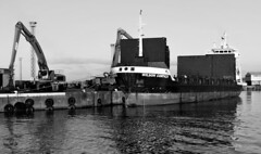 Unloading (Harry McGregor) Tags: 52in2017challenge 18work blackandwhite bw monochrome outdoor ship cargo harbour docks ayr ayrshire scotland water seaside nikon d3300 4 january 2017 harrymcgregor