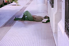 (juliayeger) Tags: street view poverty alone sleeping man asleep living poor loneliness indifference bs buenos aires tirado hombre durmiendo calle pobreza indigencia calor shadow resting analog effect