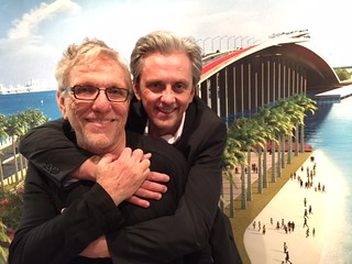 Master architect and planner Bernard Zyscovich with fellow collaborator Mikael Colville-Andersen at the Coral Gables Museum opening for the Z-plan Key Biscayne bike path