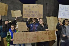 Mathematicians hold up signs at Univ. of Colorado-Boulder speech by Milo Yiannopoulos. (desrowVISUALS.com) Tags: demonstration politics rally protest grassrootspolitics miloyiannopoulosprotest miloyiannopoulos milo antifascistprotest anarchistprotest antialtrightprotest campusprotest mathematicians mathematiciansprotest mathematics