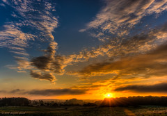 Sunrise Clouds (Ninja Dog - 忍者犬) Tags: 2015 september autumn geddington newton northamptonshire eastmidlands england english uk d7200 hdr tonemapped landscape countryside rural nature natural newtonfieldcentre dawn sunrise earlymorning clouds cloudscape colour warm golden woods field trees hedgerows sky