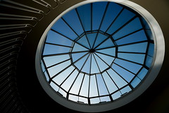 Mister blue sky (Maerten Prins) Tags: denmark denemarken kopenhagen copenhagen spiral staircase stairs upshot curve dark shadow shadows curves railing balustrade light gyldenlovesgade15